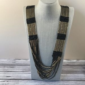 Black and gold Sonoma seed bead necklace
